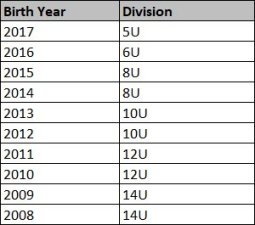 Divisions based on birth year for 2021/22.
